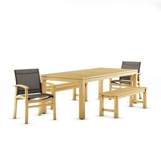 Amazonia Teak Trento 5-piece Teak Rectangular Patio Dining Set with Brown Textile Sling - 5piece