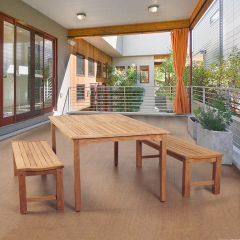 Amazonia Teak Trento 3-piece Teak Rectangular Patio Dining Set