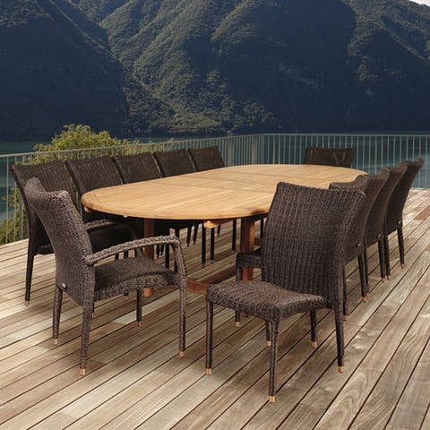 Popham 13-piece Teak/ Wicker Double Extendible Oval Dining Set by Havenside Home