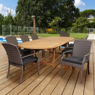 Amazonia Teak San Martino 9-piece Teak/ Wicker Double Extendable Oval Patio Dining Set with Grey Cushions
