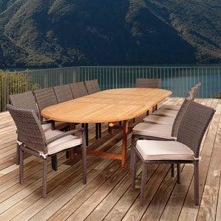 Amazonia Teak Ravello 13-piece Teak & Wicker Double Extendable Oval Patio Dining Set with Off-white Cushions