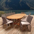 Amazonia Teak Ravello 13-piece Teak & Wicker Double Extendable Oval Patio Dining Set with Off-white Cushions