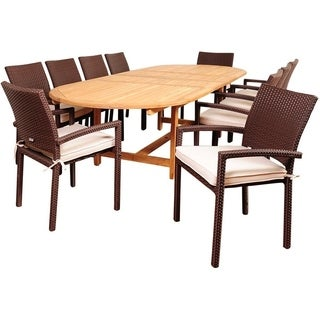 Amazonia Ravello 11-piece Teak / Synthetic Wicker Double Extendable Oval Patio Dining Set with Off-white Cushions