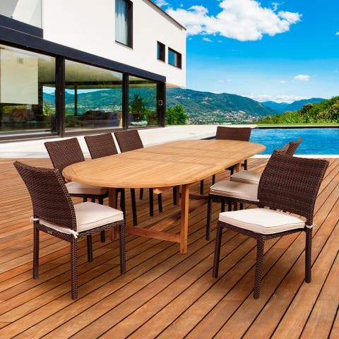 Amazonia Teak 9-piece Extendable Patio Dining Set with Cushions