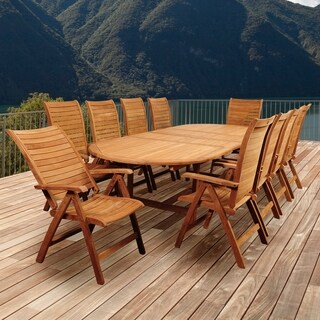 Amazonia Teak Turchini 11-piece Teak Double Extendable Oval Patio Dining Set