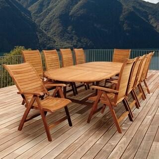 Great Amazonia Teak Turchini 11 Piece Teak Double Extendable Oval Patio Dining Set