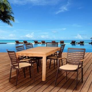 Amazonia Teak Clemson 7-piece Cast Aluminum and Teak Rectangular Patio Dining Set with Tan Cushions