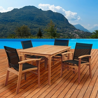 Amazonia Teak Luna 5-piece Teak Rectangular Patio Dining Set with Black Textile Sling