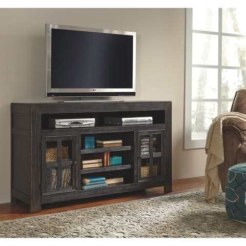 Signature Design by Ashley Gavelston Black TV/Fireplace Stand