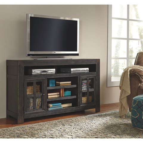 Gavelston Casual LG TV Stand w/Fireplace Option Black