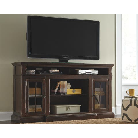 Roddinton Casual XL TV Stand w/Fireplace Option Dark Brown