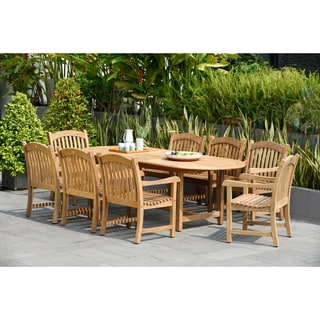 Havenside Home Tottenville 9-piece Teak Double Extendable Oval Dining Set