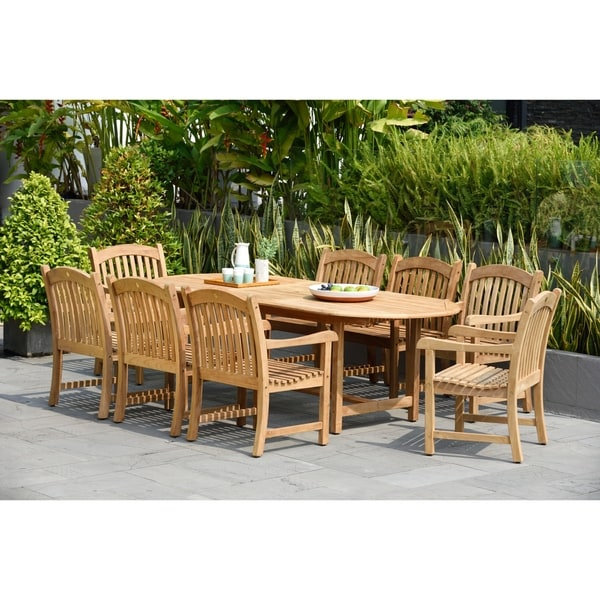 Tottenville 9-piece Teak Double Extendable Dining Set by Havenside Home. Opens flyout.
