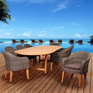 Amazonia Teak Sumay 9-piece Wicker/ Teak Double Extendable Oval Patio Dining Set with Brown Cushions