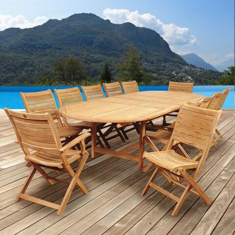Amazonia Teak Sessa 13-piece Teak Double Extendable Oval Patio Dining Set