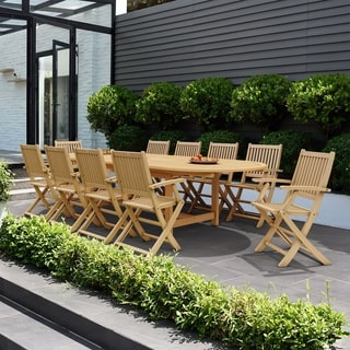 Captivating Amazonia Teak Borghi 11 Piece Teak Double Extendable Oval Patio Dining Set