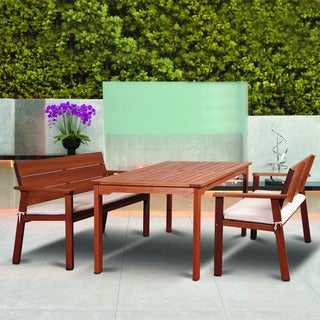 Amazonia Albany 3-piece Eucalyptus Rectangular Patio Dining Set with Beige and Off-white Striped Cushions