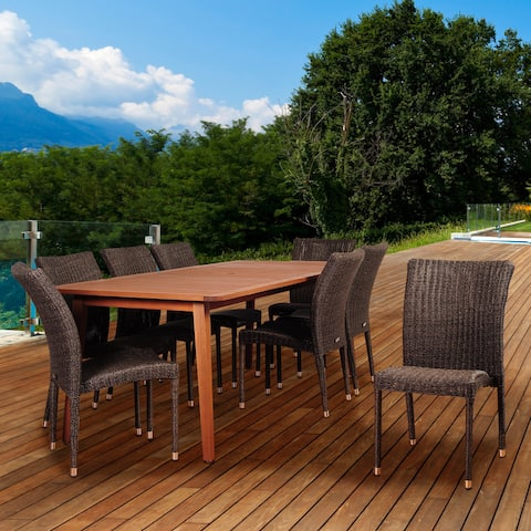 Amazonia Nocelle 9-piece Eucalyptus/ Wicker Rectangular Patio Dining Set