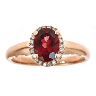 Anika and August 10k Rose Gold Oval-cut Rodholite 1/8ct TDW Diamond Ring (G-H, I1-I2) (Size 7)