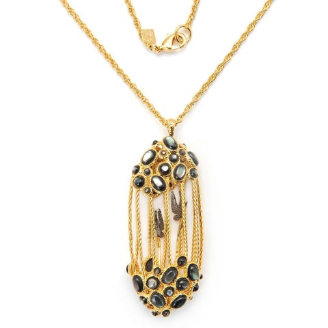 De Buman Yellow Gold Plated And Grey Shells Or Rose Gold Plated And Pink Crystal Necklace