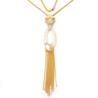 De Buman Yellow Gold Plated And 'Oval' Mother Of Pearl Gemstone Necklace