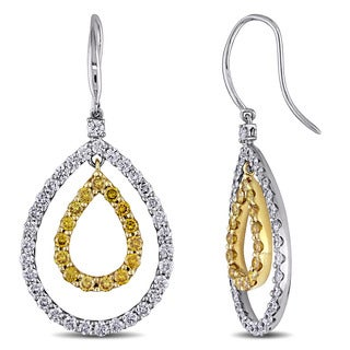 Miadora Signature Collection 18k Two-Tone Gold 3 3/5ct TDW Yellow and White Diamond Teardrop Earrings (F-G, SI1-SI2)