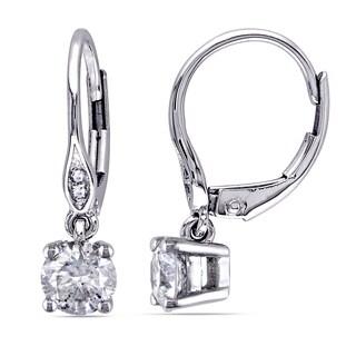 Miadora Signature Collection 10k White Gold 1ct TDW Diamond Leverback Earrings