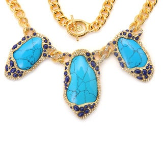 De Buman 18k Yellow Gold Plated Turquoise Gemstone Necklace