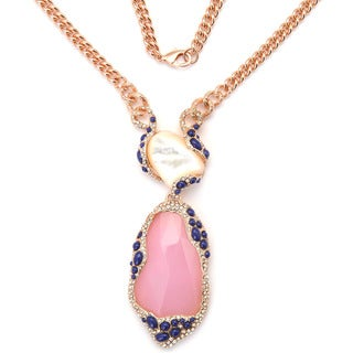 De Buman 18k Rose Gold Plated Pink Crystal or 18k Yellow Gold Plated Turquoise Gemstone Necklace