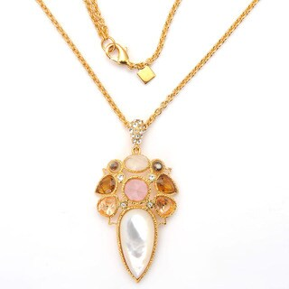 De Buman 18k Yellow or Rose Gold Plated Mother of Pearl Gemstone Necklace