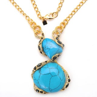 De Buman 18k Yellow Gold Plated and Turquoise or 18k Rose Gold Plated and Mother of Pearl Gemstone Necklace