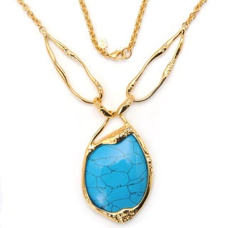 De Buman 18k Yellow Gold Plated and Fancy Turquoise or 18k Rose Gold Plated and Fancy Mother of Pearl Gemstone Necklace