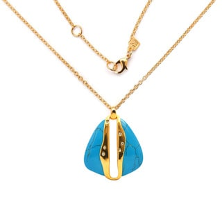 De Buman 18k Yellow Gold Plated and Turquoise or 18k Rose Gold Plated and Mother of Pearl Necklace