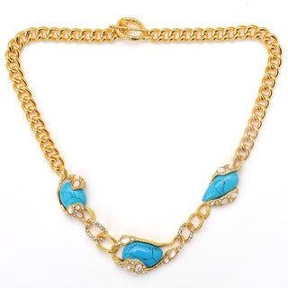 De Buman 18k Yellow Gold Plated Turquoise or 18k Rose Gold Plated Mother of Pearl Gemstone Necklace