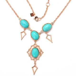 De Buman 18k Rose Gold Plated and Dyed Turquoise Gemstone Necklace