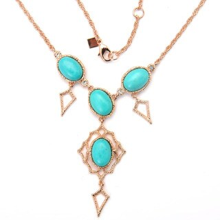 De Buman Rose Gold Plated And Dyed Turquoise Gemstone Necklace