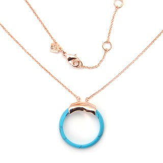 De Buman 18k Rose Gold Plated 'Round' Turquoise Necklace