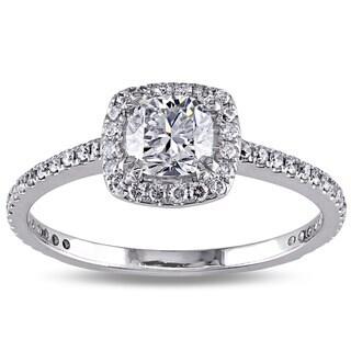 Miadora 14k White Gold 3/4ct TDW Diamond Halo Engagement Ring (F-G, SI1-SI2)