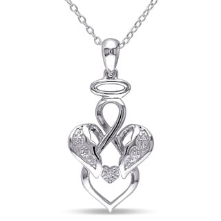Miadora Sterling Silver Diamond Accent Infinity Angel Necklace