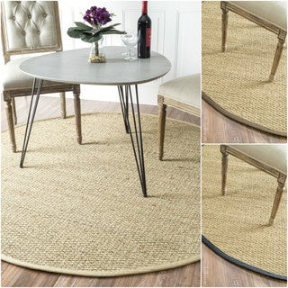 nuLOOM Handmade Natural Fiber Cotton Border Seagrass Rug (8' Round)