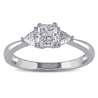 Miadora Signature Collection 14k White Gold 3/4ct TDW Diamond 3-stone Engagement Ring (G-H, VS1-VS2)