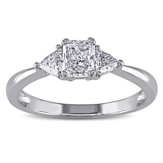 Miadora Signature Collection 14k White Gold 3/4ct TDW Diamond 3-stone Engagement Ring