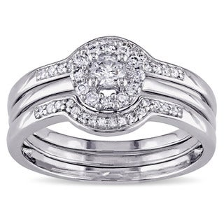 Miadora Sterling Silver 3/8ct TDW Diamond Bridal Ring Set