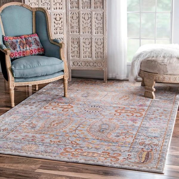 Shop Nuloom Traditional Persian Fancy Aqua Rug: Shop NuLOOM Traditional Vintage Fancy Floral Grey/ Multi