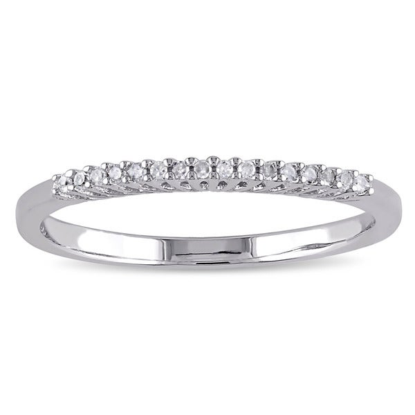 Miadora Sterling Silver Diamond Accent Wedding Band - White