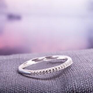 Miadora Sterling Silver Diamond Accent Wedding Band - White