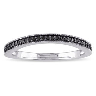 Miadora Sterling Silver 1/6ct TDW Black Diamond Anniversary-style Stackable Wedding Band
