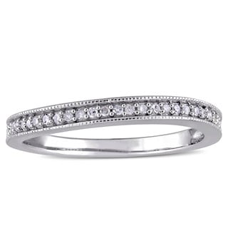 Miadora Sterling Silver 1/8ct TDW Diamond Vintage Anniversary Stackable Wedding Band Ring (G-H, I2-I3)