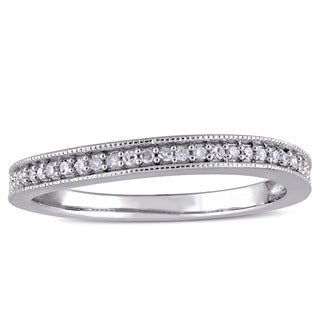 Miadora Sterling Silver 1/8ct TDW Diamond Vintage Anniversary Stackable Wedding Band Ring