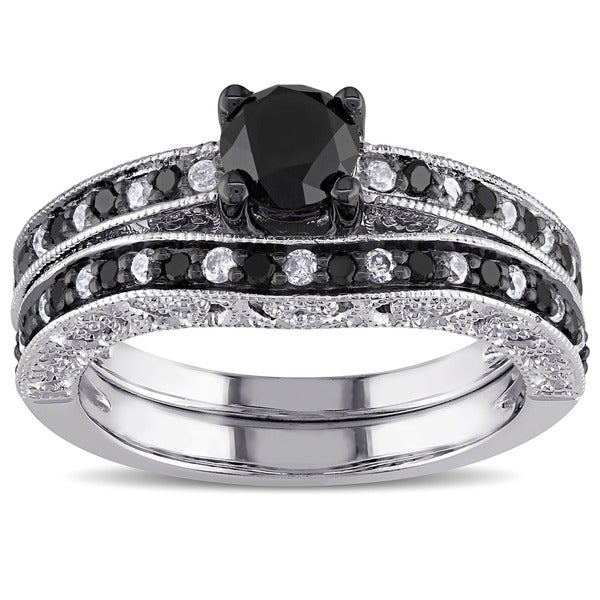 Miadora Sterling Silver 1 1/4ct TDW Black and White ...